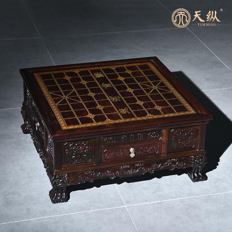 大红酸枝三用棋桌棋桌中式家庭文娱及茶道组合红木家居三用棋盘