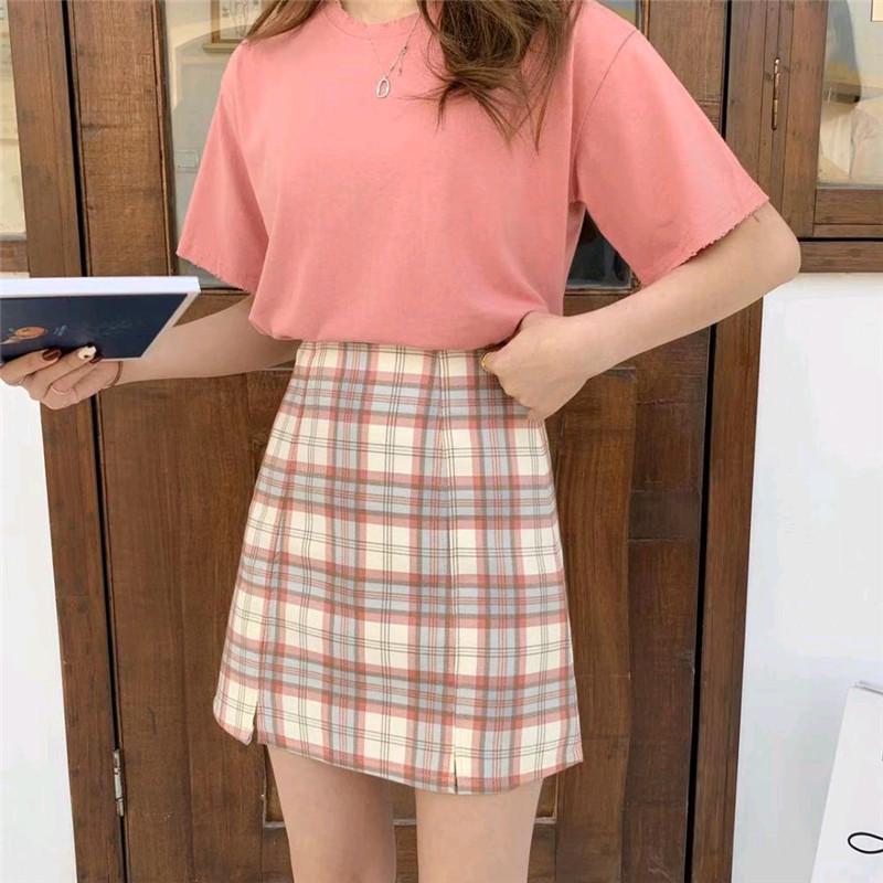 2021春夏季新品韩版下摆开叉大格子高腰A字半身裙短裙子显瘦百搭