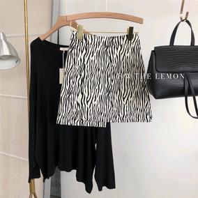 2020夏季新品气质斑马纹高腰半身裙