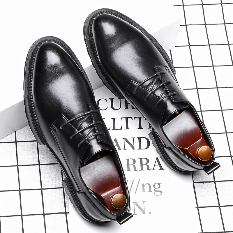 Official genuine 2020 new mens business dress shoes mens British lace up pointed mens shoes