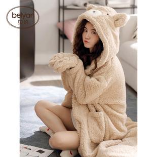 保暖珊瑚绒睡袍可爱卡通女士睡裙羊羔绒睡袍 长袖 贝妍睡衣女秋冬季