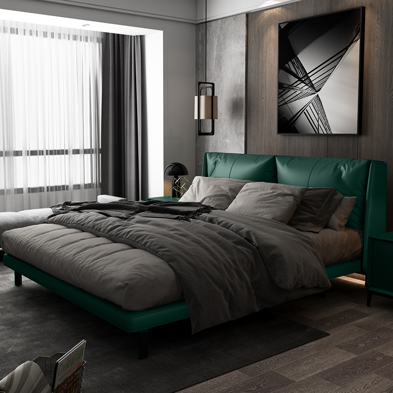 2021 dark green harbor style light luxury master bedroom head leather bed net red ins modern simple double wedding bed 1.8