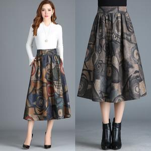 毛呢a字裙半身裙中长款秋冬女半截遮腿显瘦长裙冬季长款百褶裙子