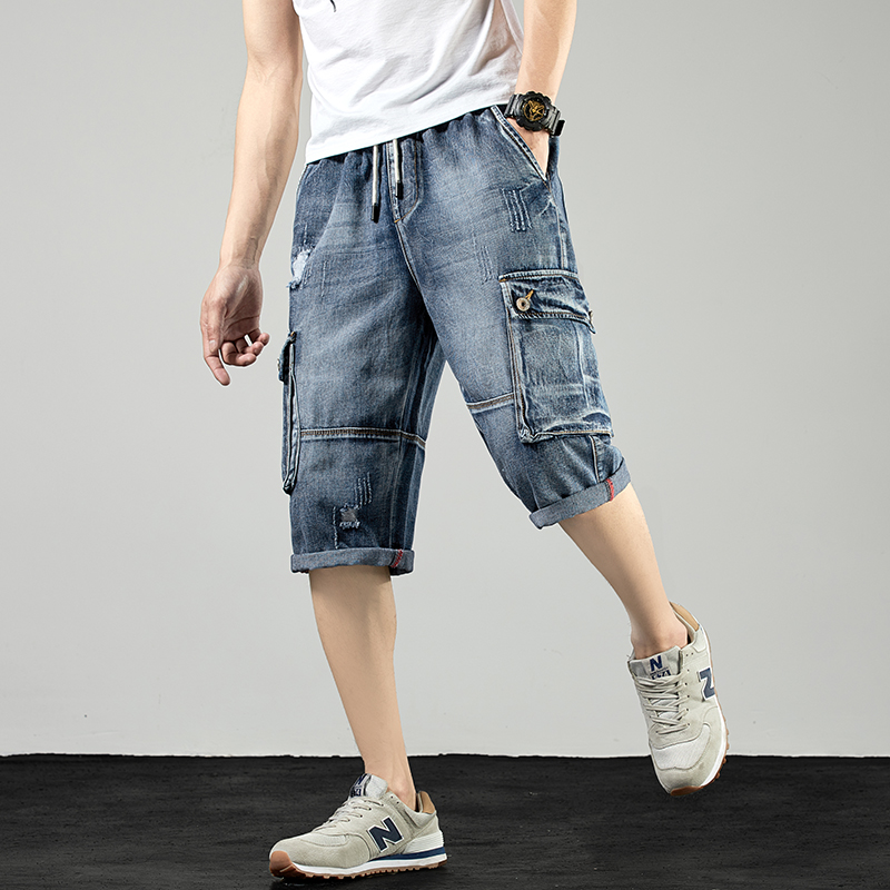Summer 2020 work wear 7-point jeans mens fashion hole breaking trend thin loose straight tube drawstring Multi Pocket Shorts