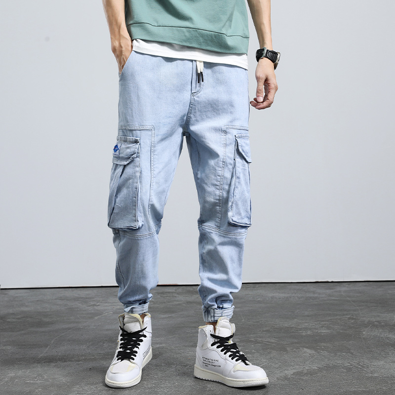 Summer corset jeans mens trend fashion drawstring loose straight casual Capris