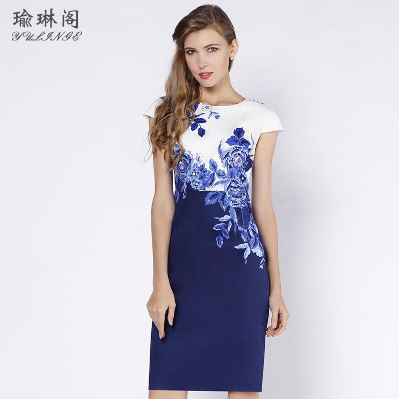 正式场合青花瓷女士连衣裙2018新款夏季气质中长款裙子 端庄大气