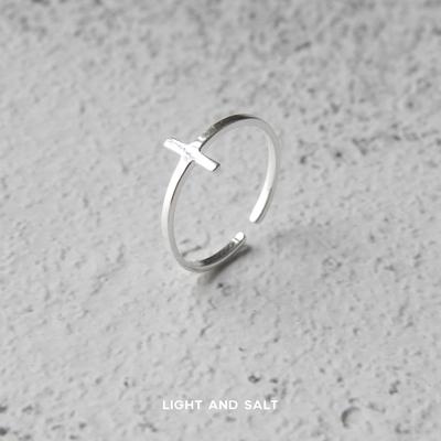 光盐生活/925纯银戒指/十字架戒指尾戒/加号开口指环/恩典环绕
