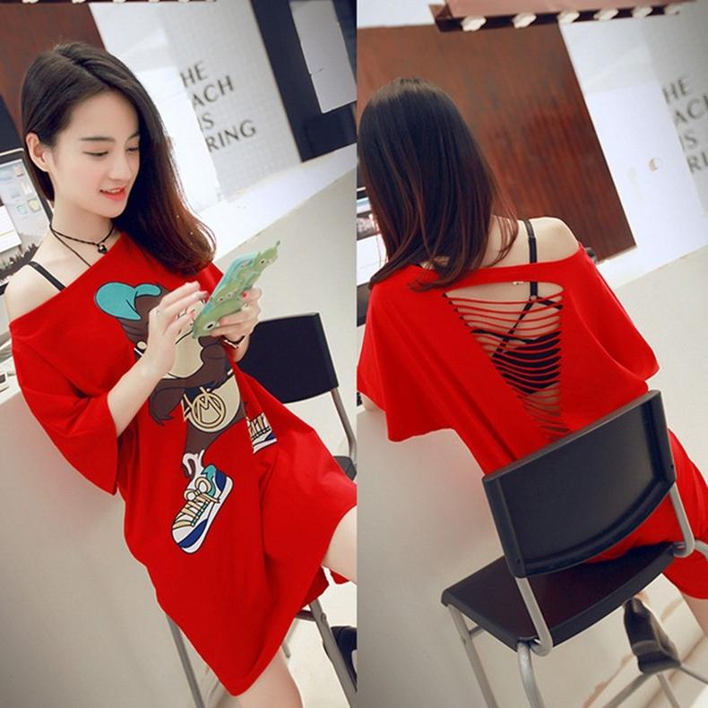 中长款打底裙子夏装2018新款时尚网红同款一字领性感露背连衣裙女