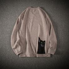 秋季圆领T恤港风刺绣鱼骨背后猫时尚百搭长袖纯色T恤潮男T21 P40