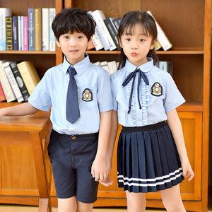 夏季校服儿童套装英伦风短袖衬衫