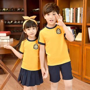 幼兒園園服夏季短袖學院風運動服校服男女童裝韓版套裝小學生班服