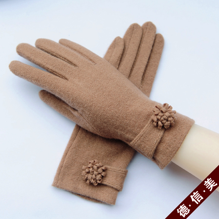 Womens single layer new autumn and winter cashmere wool gloves: short cycling thin warm and cold proof touch screen driving