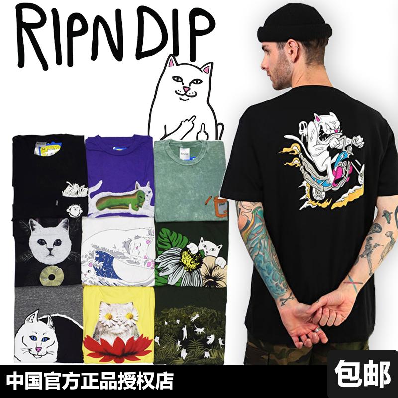 新衣城 RIP N DIP 正品T恤 祈祷中指贱猫滑板RIPNDIP男女短袖潮夏
