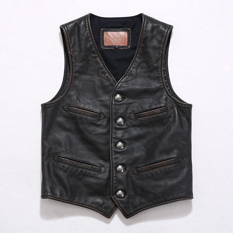 Leather Vest mens tea heart buffalo leather imported from the United States replica RRL cow leather jacket leather jacket Vintage Motorcycle Vest