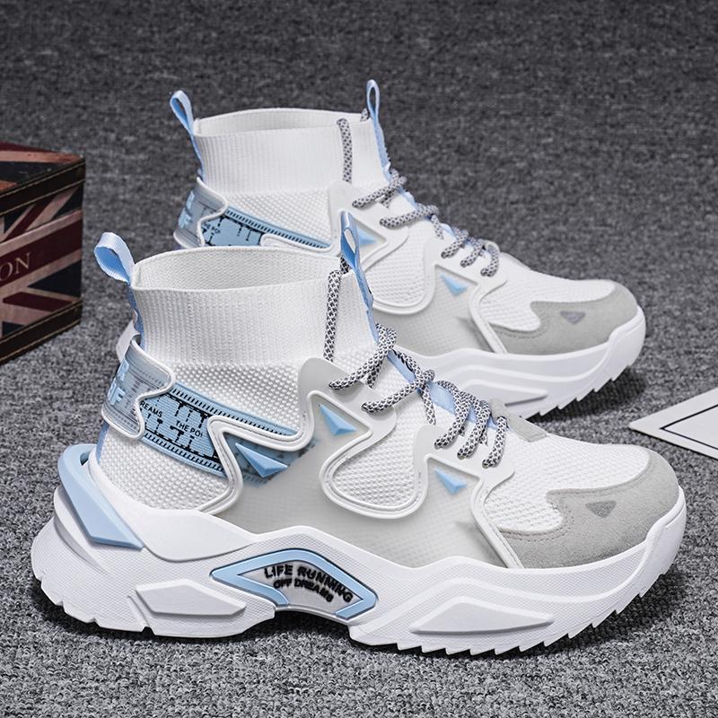 高帮飞织篮球男鞋2021新款百搭m2k老爹袜子潮鞋空军一号运动夏季