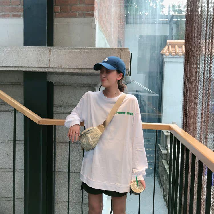 街舞宽松长袖T恤女初秋新款韩版字母印花下衣失踪大码舞蹈体恤券后58.92元