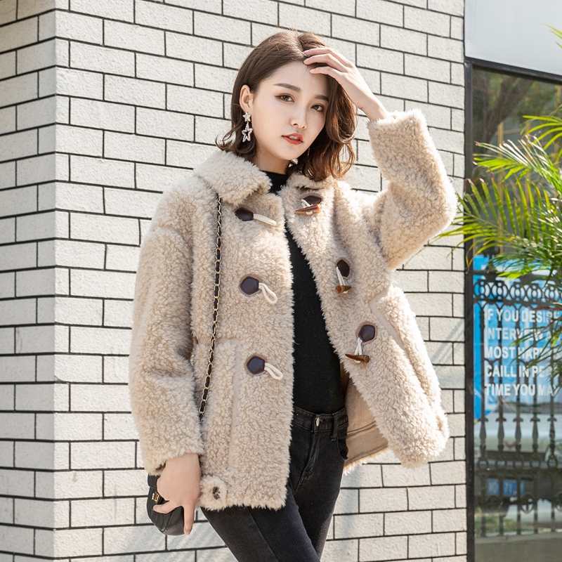 Lamb fur fur one womens autumn and winter granular cashmere sheep shearing 2019 womens coat sweet short net red the same