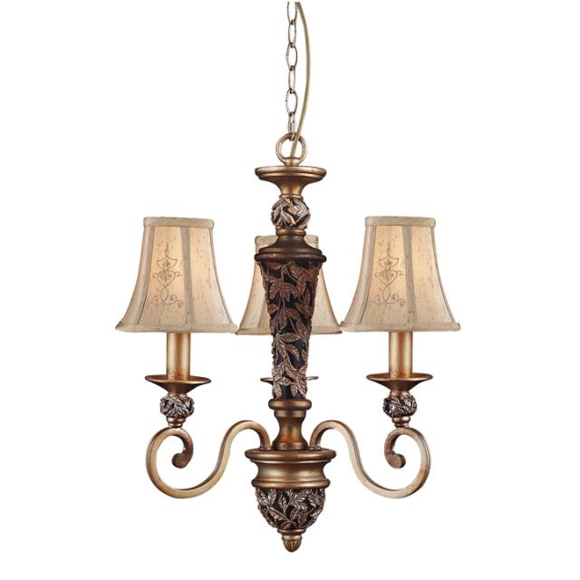 欧式灯具铁艺灯布罩三头吊灯美式乡村女儿房间吊灯布艺灯1002