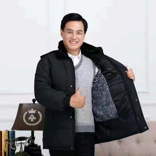冬季加绒男士男装中老年棉衣男冬装外套加厚款毛内胆爸爸保暖棉衣