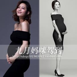 329九月妈咪驾到孕妇照服装出租赁妈咪艺术影楼写真包身黑色显瘦