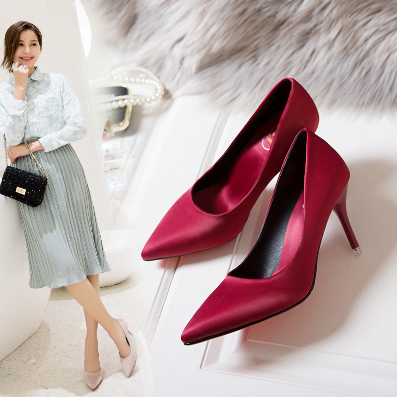 Spring and autumn silk satin naked pointed high heeled shoes light mouth black professional thin heeled womens single shoes red wedding shoes