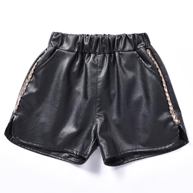 023#松紧阔腿韩版女装女皮短裤潮款黑色显瘦百搭休闲裤