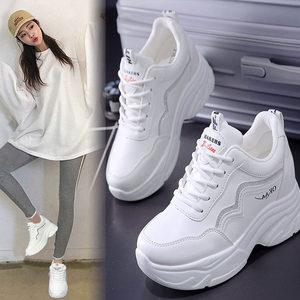 小白鞋2020冬季新款百搭网面老爹鞋韩版休闲学生内增高女鞋单鞋子