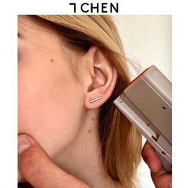 订书机耳钉手工定制925银不掉色耳棒睡觉不用摘镶钻耳饰耳扣男女图片