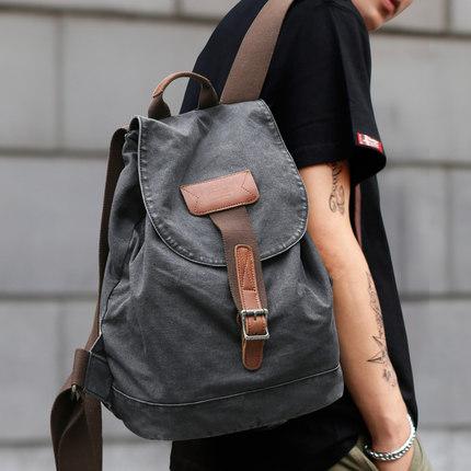 牧之逸双肩包男女小背包时尚潮流休闲学生书包英伦帆布旅游旅行包