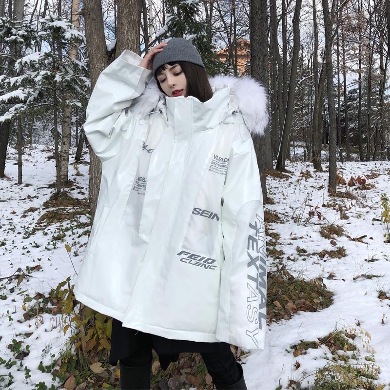 HTCU潮牌冬季男女星际雕王3M反光外套嘻哈情侣宽松大衣加厚棉服