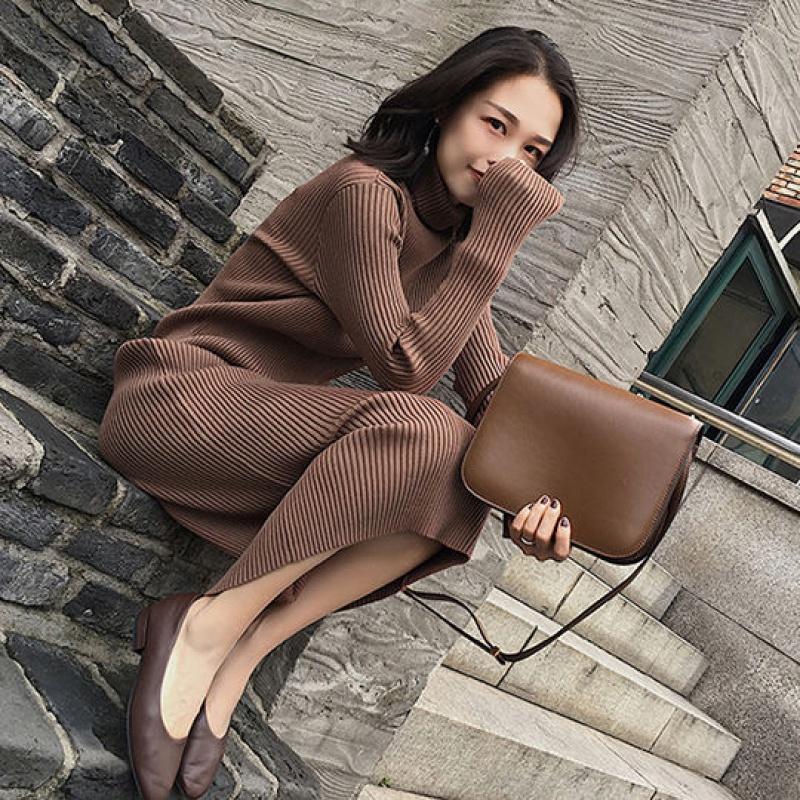 针织连衣裙女长袖中长款2020秋冬新款保暖高领加厚过膝毛衣打底裙