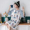 新款韩版夏季夏短袖长款可爱睡裙