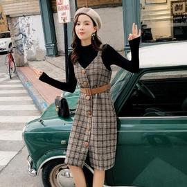 【单件/两件套】 桔梗裙春秋新复古毛呢格子背带连衣裙毛衣女套装