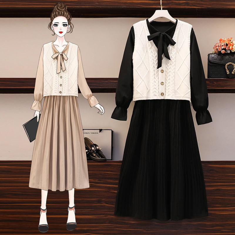 单套装2020秋冬新款大码女装洋气遮肚子针织马甲连衣裙潮两件套