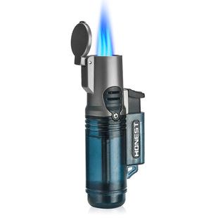 百诚透明仓三直冲打火机户外生火便携烟具蓝焰雪茄艾灸充气打火机品牌