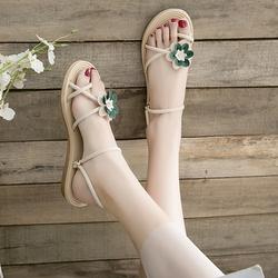 两穿凉鞋2020年新款沙滩花朵拖鞋女外穿ins潮平底学生百搭穆勒鞋
