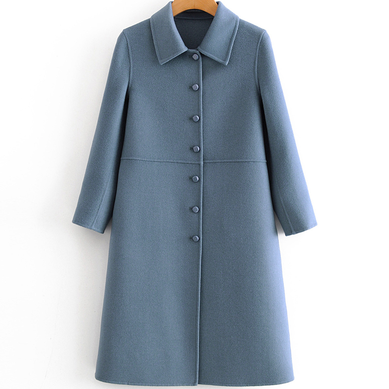 2019 new cashmere coat womens medium and long square neck show thin 100% double sided wool coat high end peacock blue