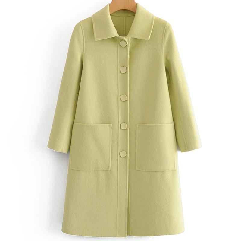 Avocado Green double-sided wool coat womens autumn winter 2019 medium length thin Hepburn style zero cashmere woolen coat