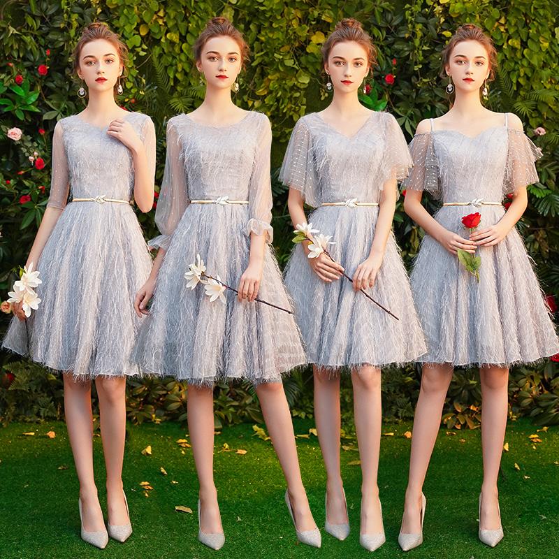伴娘服短款女2019新款春仙气质显瘦伴娘裙毕业主持人小礼服姐妹团