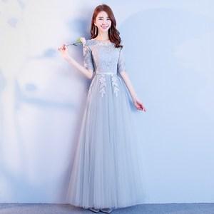 伴娘服2021秋季新款韩版宴会小礼服灰色显瘦姐妹团派对毕业礼服裙