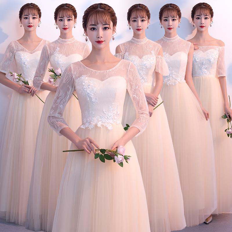 伴娘服礼2018新款秋季长款香槟色姐妹团显瘦婚礼宴会女小晚礼服裙
