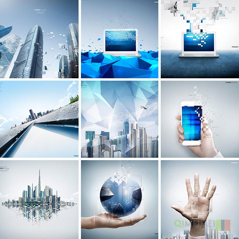 高科技感像素化创意人物风景拼接艺术海报背景PSD设计素材122113