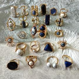 vintage古董复古蓝色松石头几何异形戒指环女士异域风情民族风