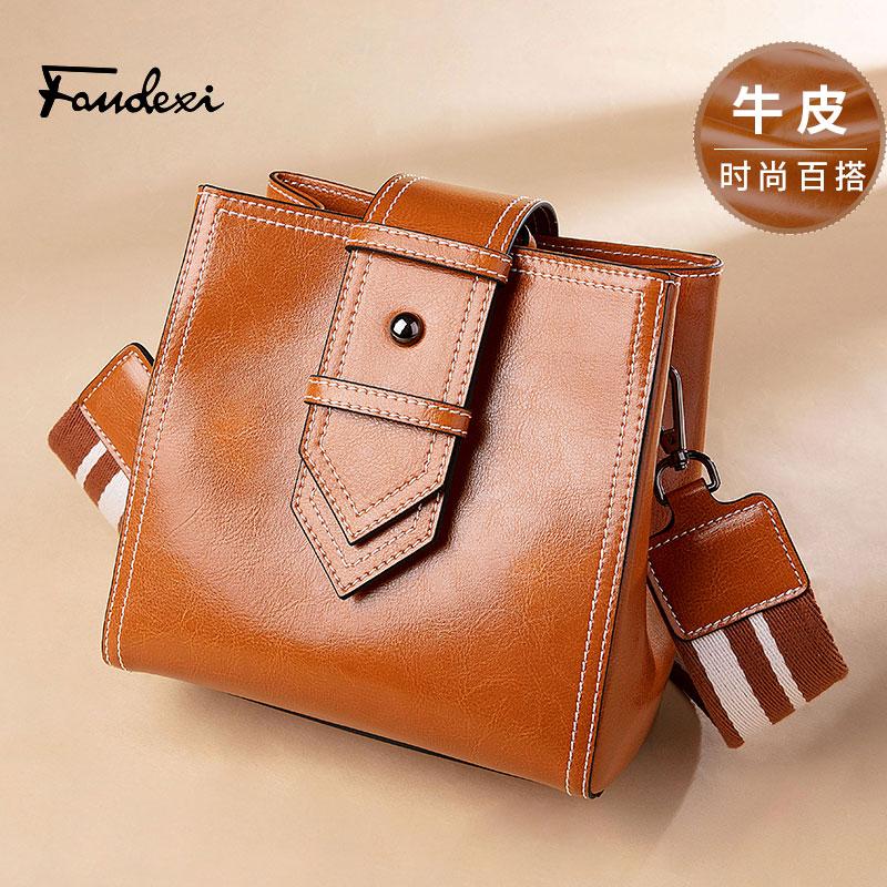 Van der hee leather bag womens 2021 new fashion versatile Bucket Bag Fashion wide shoulder strap retro One Shoulder Messenger Bag