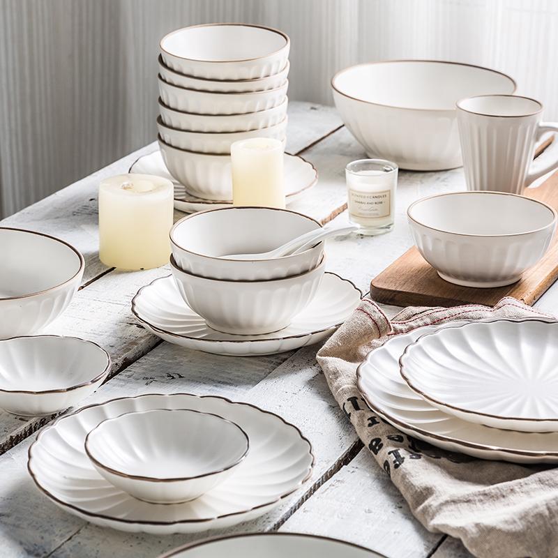 亿嘉北欧风陶瓷碗碟碗盘餐具套装家用创意餐盘菜盘子碗筷勺子米兰(用56.9元券)