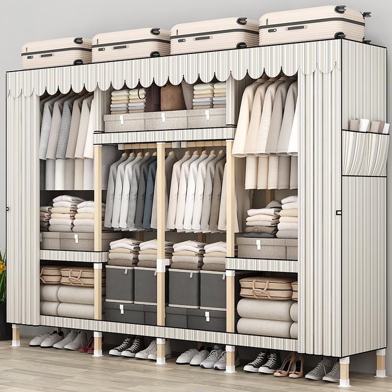 衣柜家用卧室简易布衣柜出租房用现代简约实木组装柜子收纳挂衣橱
