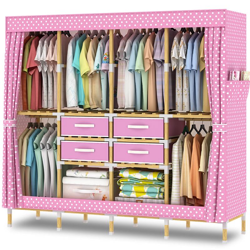 风格衣柜子加粗储物柜可拆卸方便组装衣橱柜子收纳柜复古布衣柜