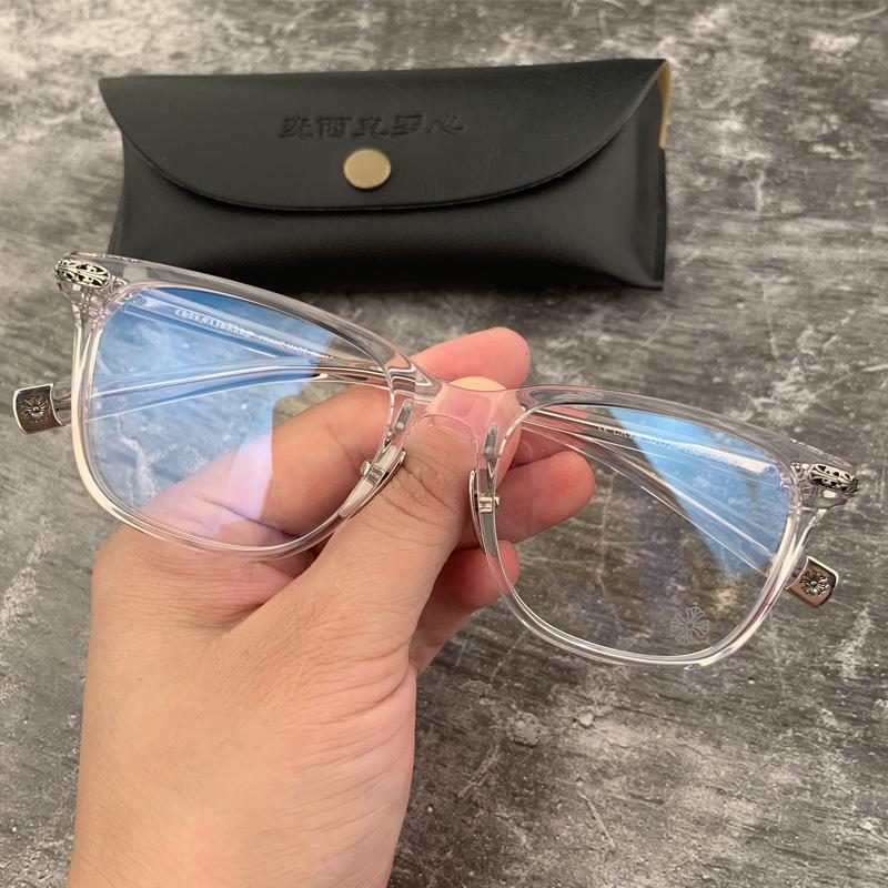 宝剑克罗心眼镜框板材全框复古超轻近视银饰戴鼻托可配近视眼镜架