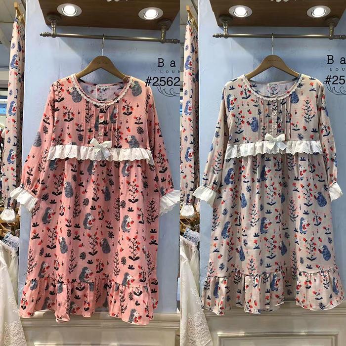 BALCONY18秋新韩国进口正品女款甜美花边植物印花睡裙家居裙2562