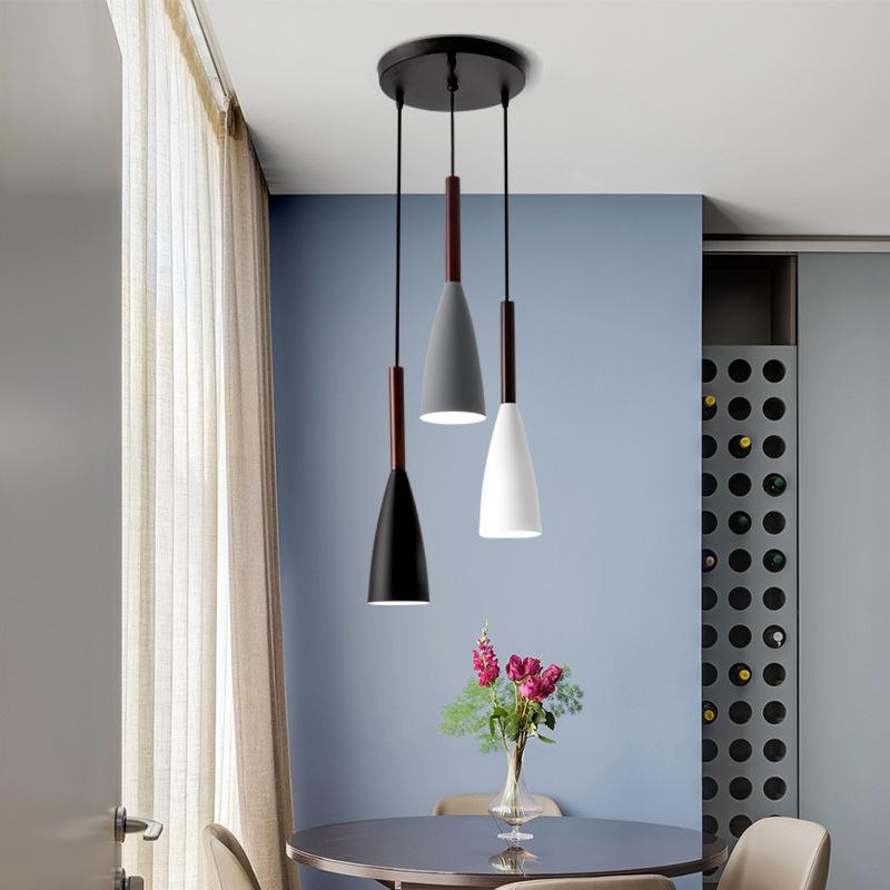 餐厅吊灯三头现代简约北欧餐桌创意个性铁艺家用饭厅吧台led灯具